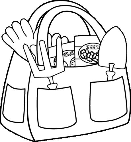 Black and White Gardening Bag Clip Art
