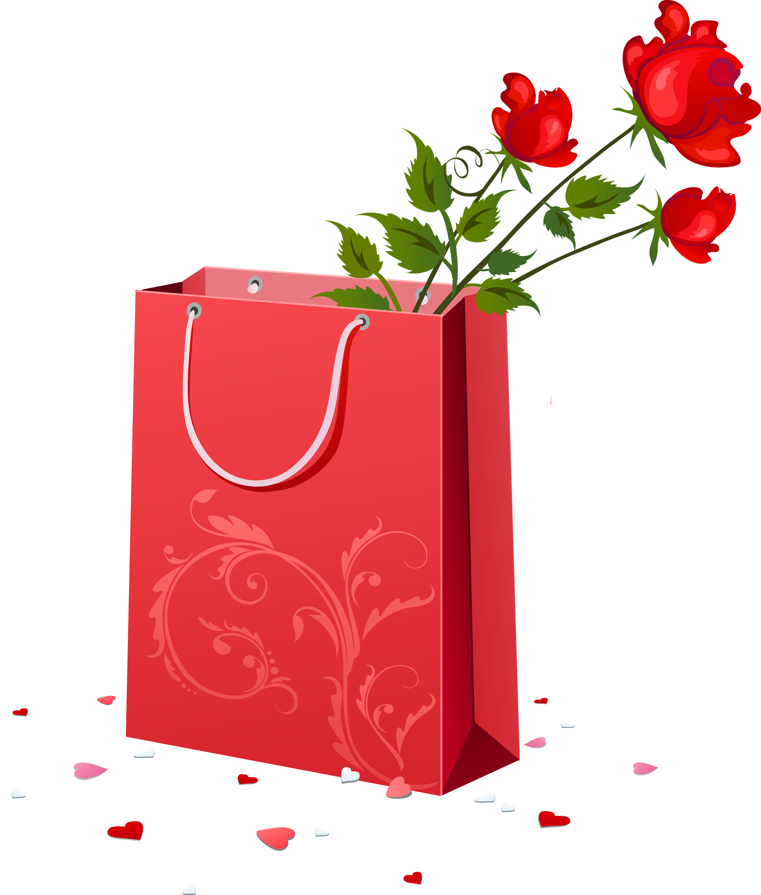 Red with roses png. Gift clipart gift bag
