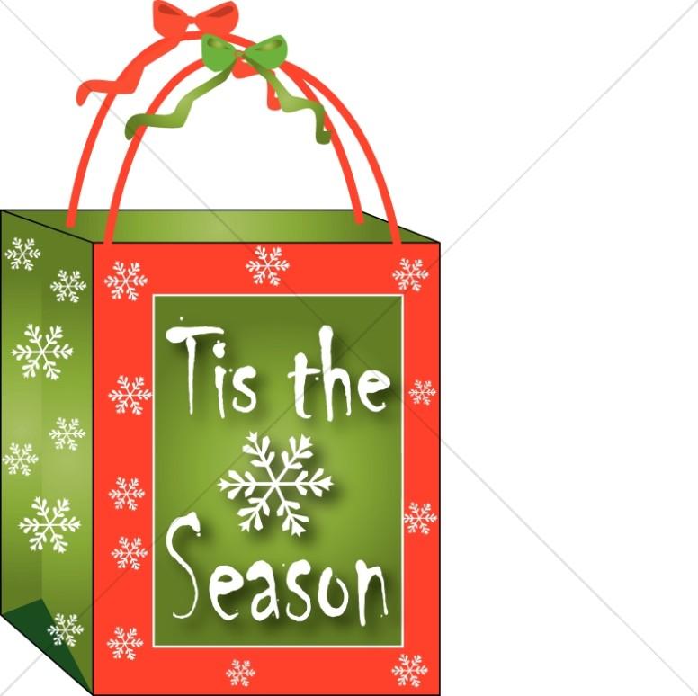 Bag clipart gift. Christmas christian word art