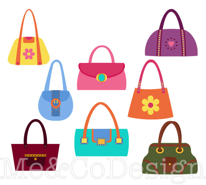 Fun pretty retro accessory. Bag clipart handbag