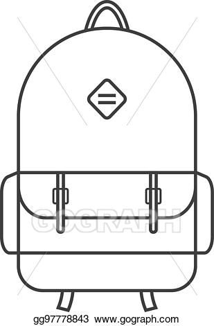 Vector art thin line. Bag clipart haversack