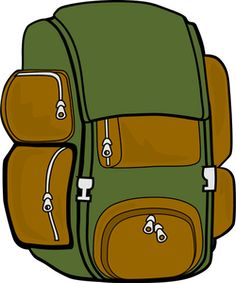 Bag clipart haversack. A boy getting ready