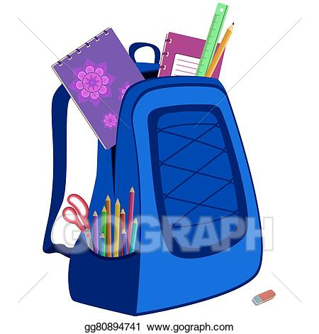 Vector stock schoolbag with. Bag clipart haversack
