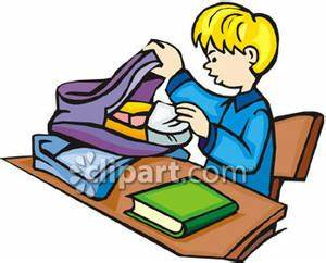 Bag clipart homework. Kid backpack pencil and