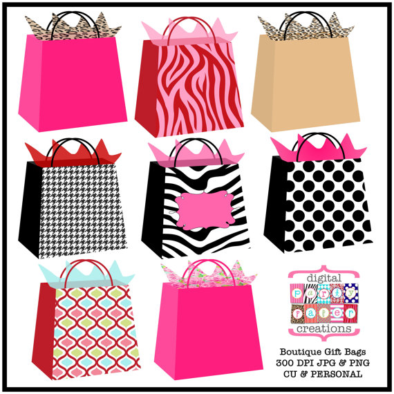 Bag clipart illustration. Boutique gift bags printable