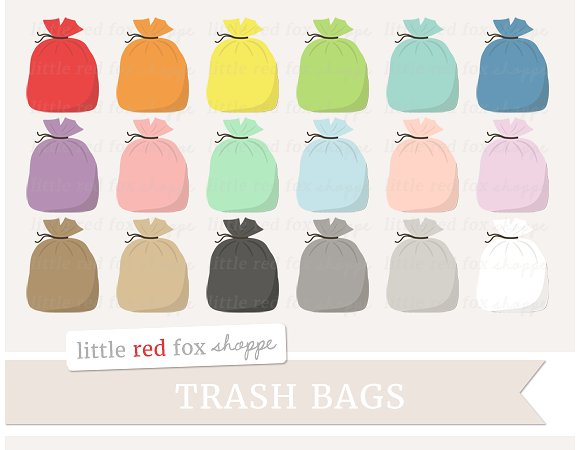 Trash illustrations on creative. Bag clipart illustration