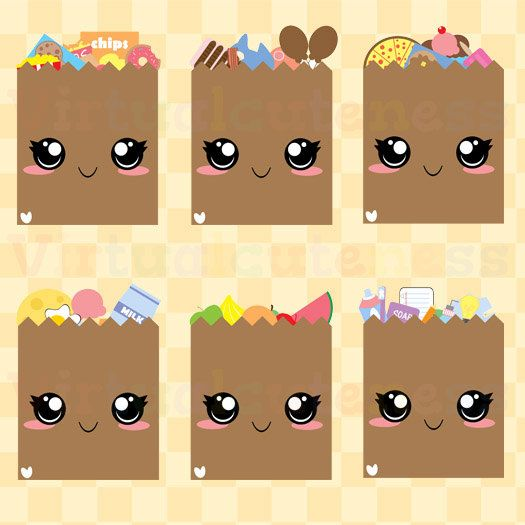 Grocery cute shopping by. Bag clipart kawaii