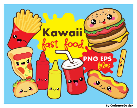 off fast food. Bag clipart kawaii