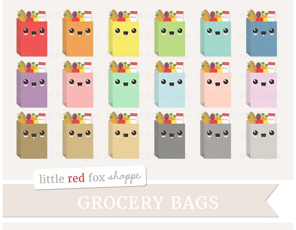 Grocery illustrations creative market. Bag clipart kawaii