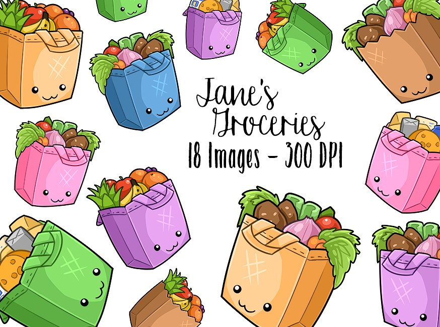 Bag clipart kawaii. Grocery bags illustrations creative