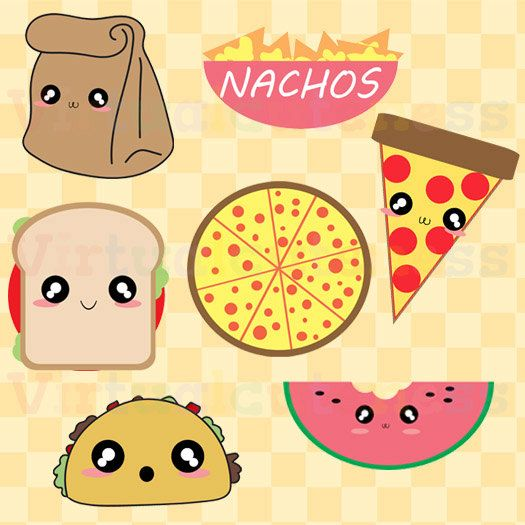 Bag clipart kawaii. Lunch food clip art