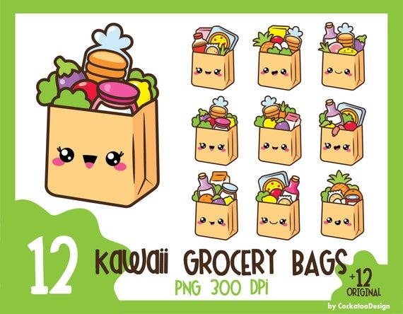 Bag clipart kawaii. Grocery groceries clip art