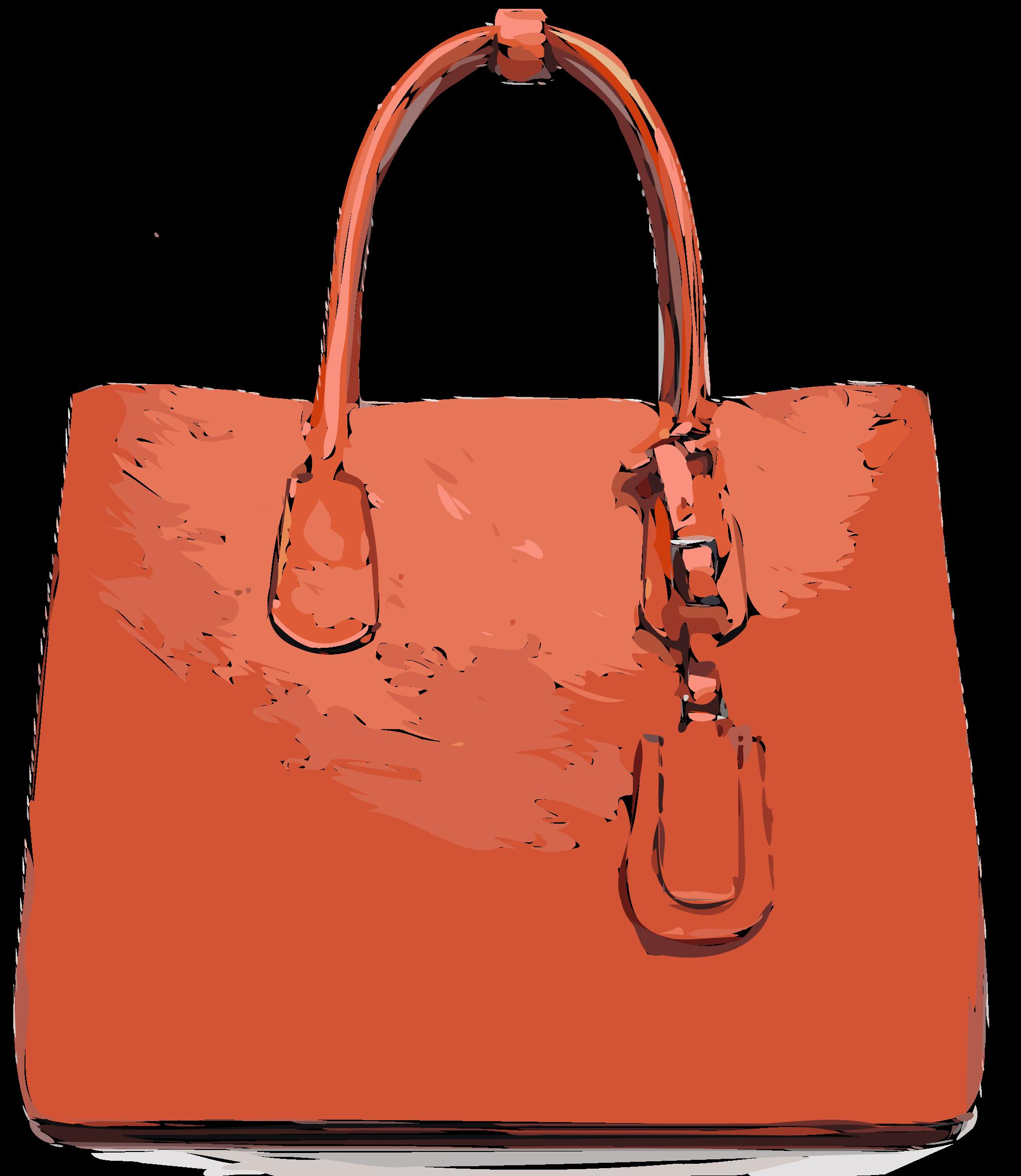 Flat leather bag big. Luggage clipart orange