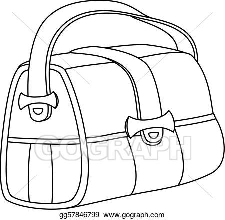 Eps vector contours stock. Bag clipart leather bag