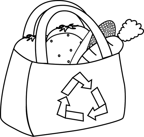 Bag clipart line art. Earth day clip images
