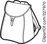 School clip art panda. Bag clipart outline