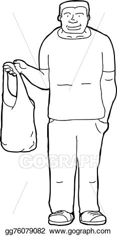 Bag clipart outline. Vector art man with