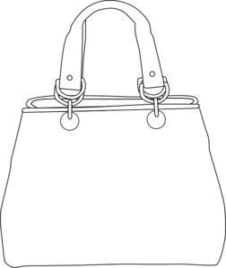 Bag clipart outline. White purse clip art