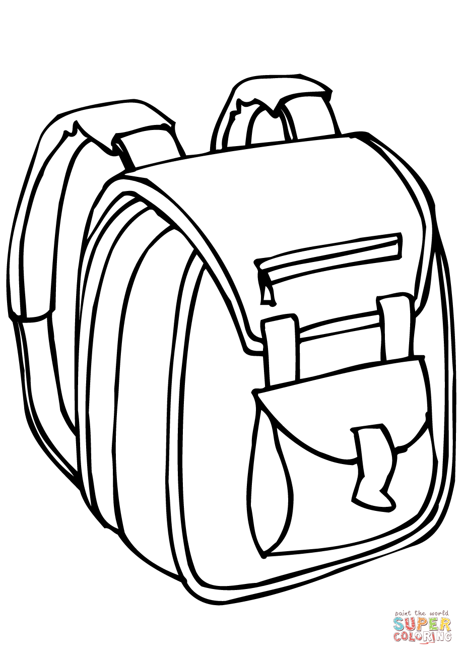 Coloring page free printable. Bag clipart outline school