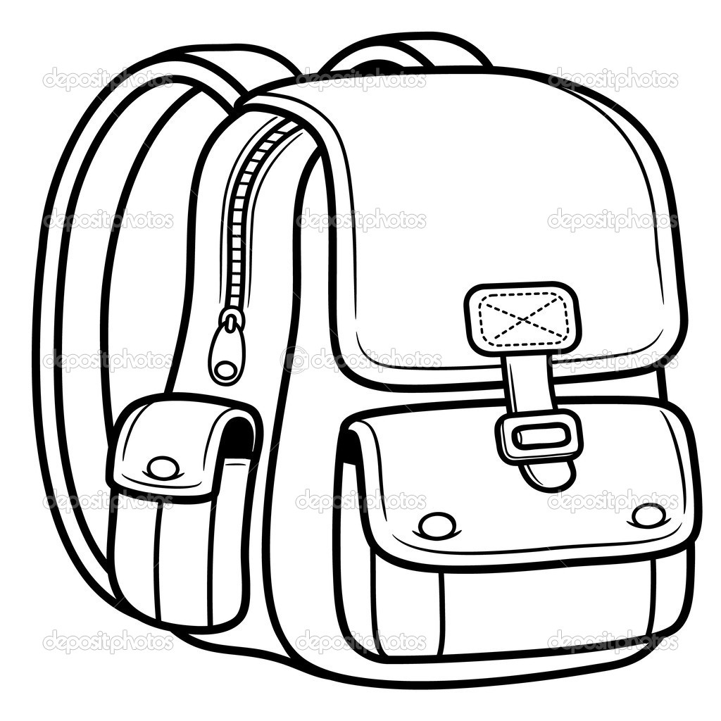Line drawing at getdrawings. Bag clipart outline school