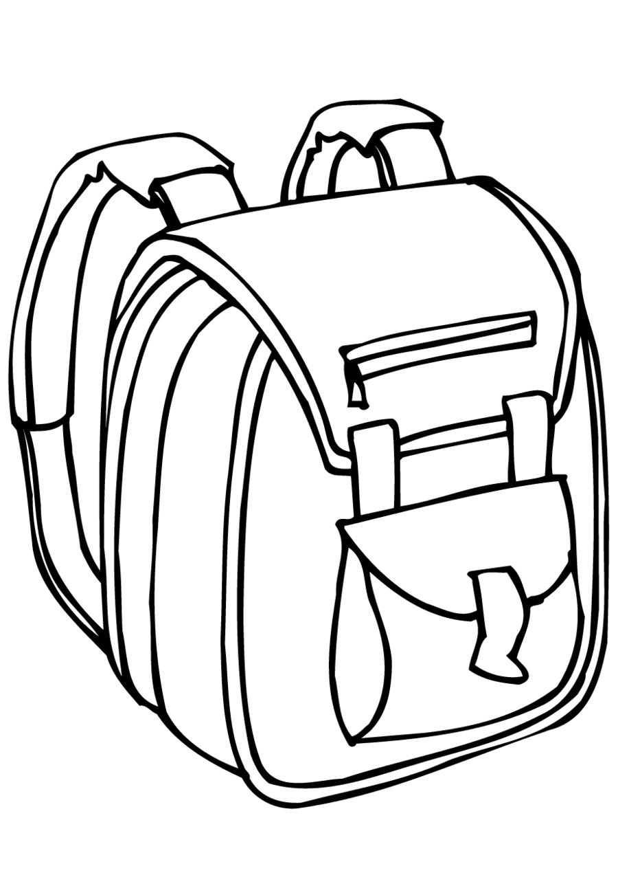 Black and white backpack. Bag clipart outline school