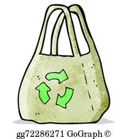 Bag clipart reusable bag. Vector cartoon illustration