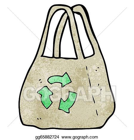 Vector cartoon illustration. Bag clipart reusable bag