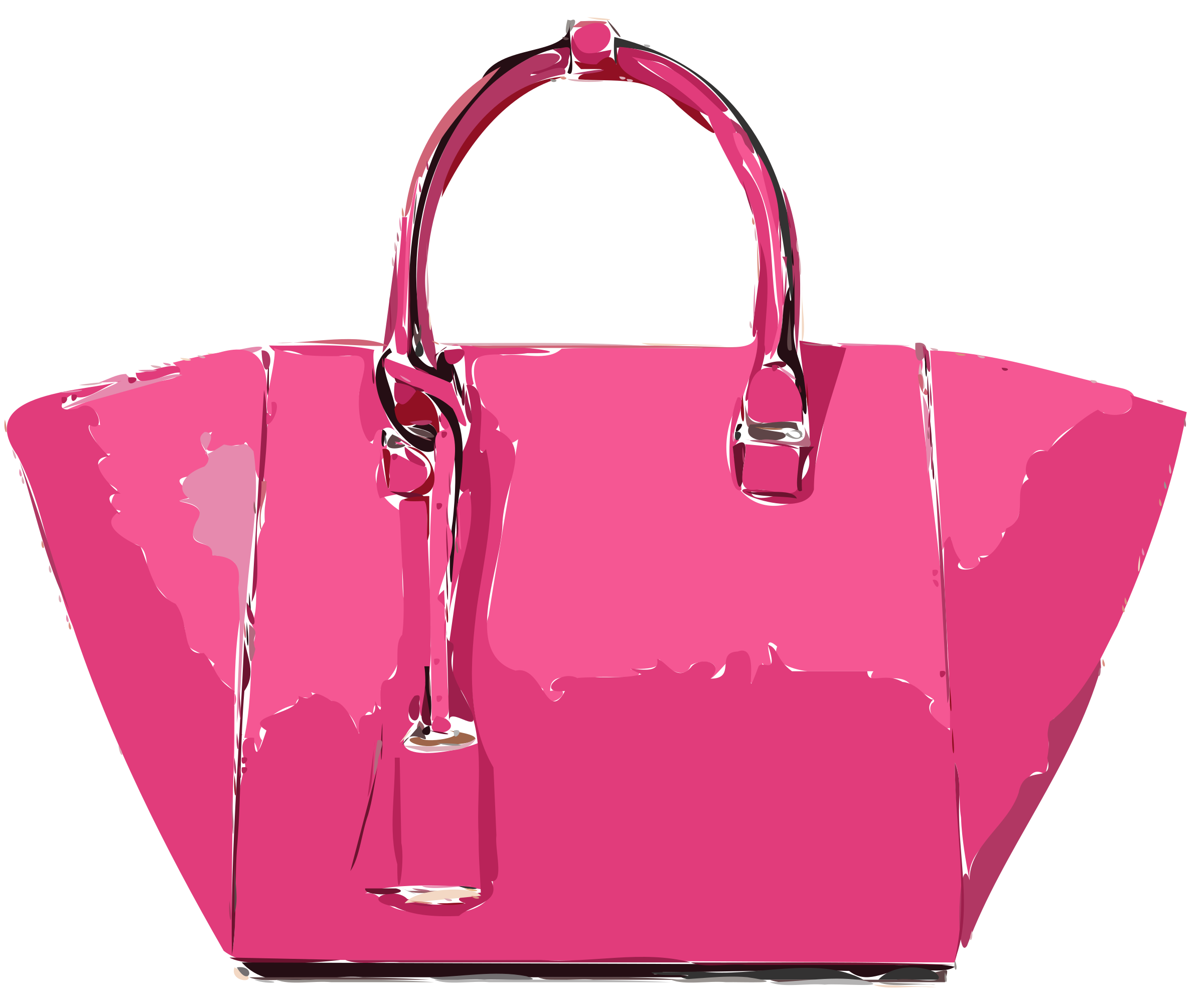 Pink leather handbag icons. Bag clipart satchel