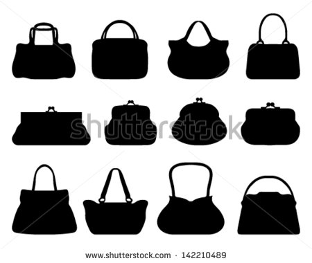 Bag clipart silhouette. Purse