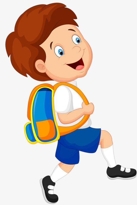 Boy carrying a school. Bag clipart student