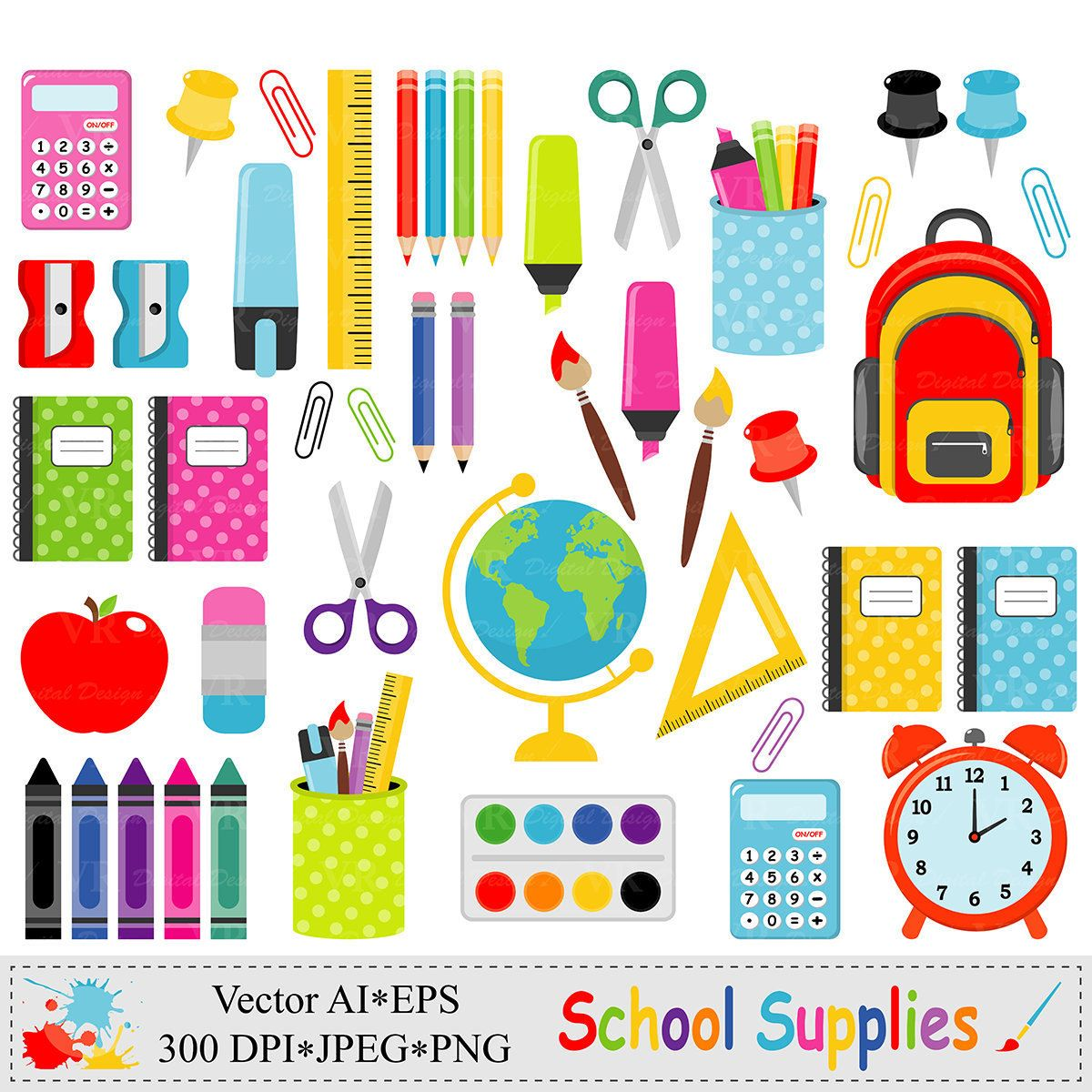 School supplies clip art. Bag clipart teacher
