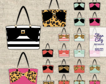 Fashion etsy handbag purse. Bag clipart tote bag