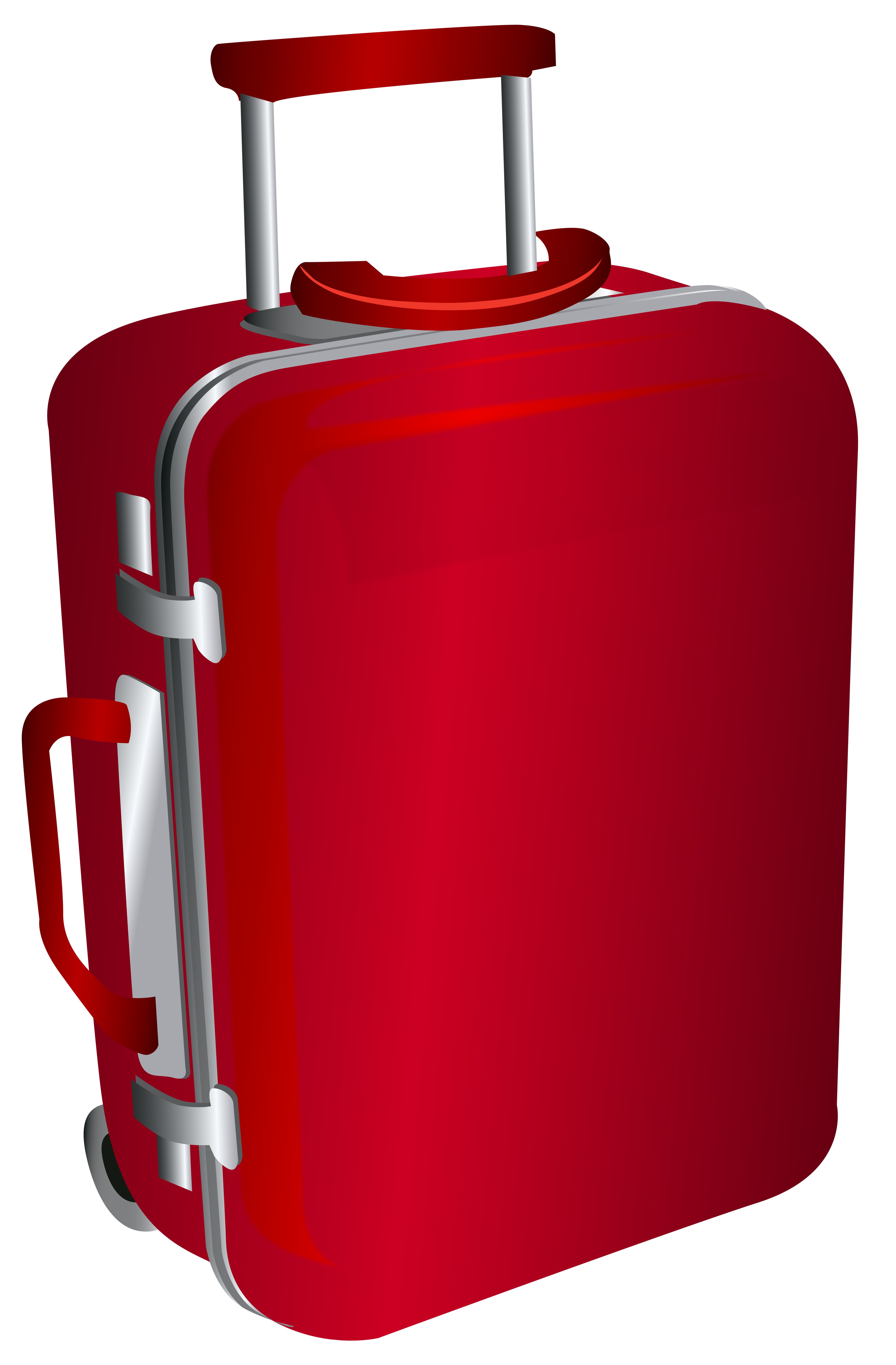 Red trolley travel bag. Luggage clipart animated