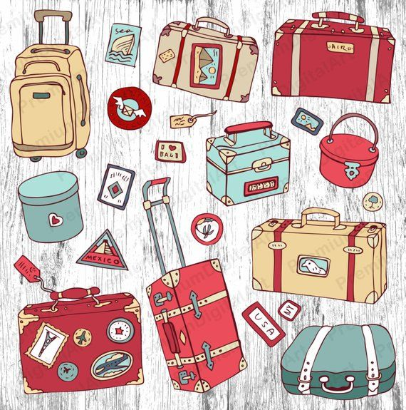 Luggage clipart scrapbook.  digital suitcase travel