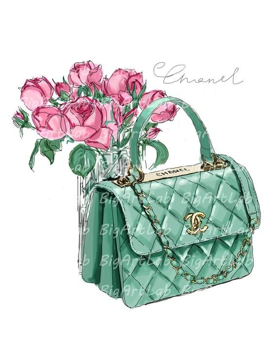 Instant download chanel psd. Bag clipart watercolor