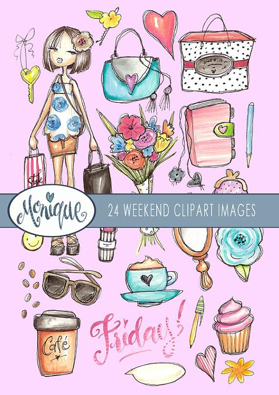 Weekend girls sticker coffee. Bag clipart watercolor