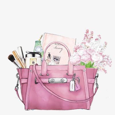 Bag clipart watercolor. Women handbag hand painted