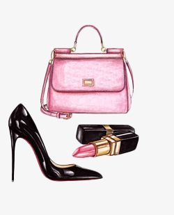 Bag clipart watercolor. Hand painted bags shoes