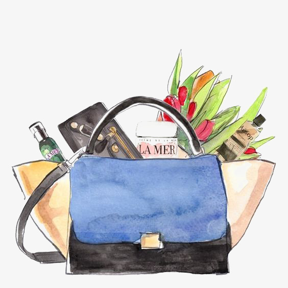 Fashion bags png image. Bag clipart watercolor