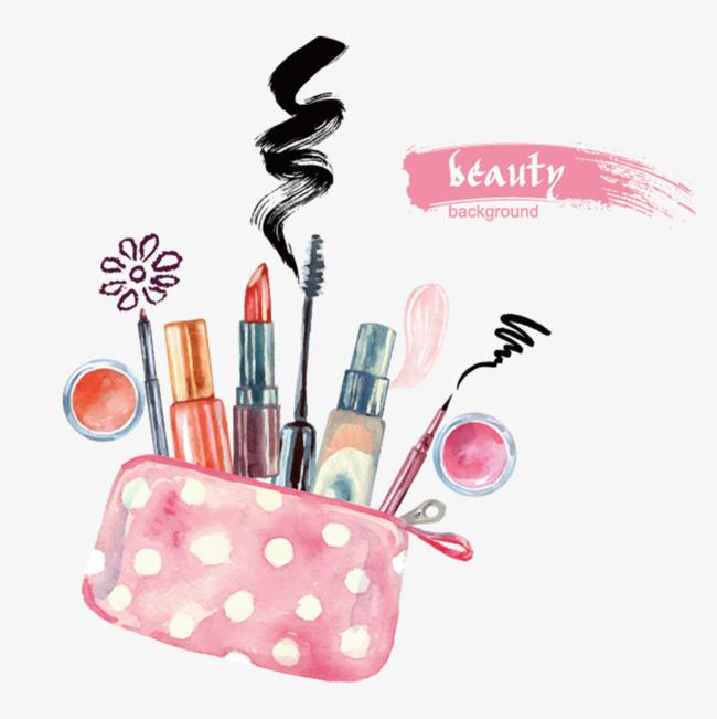 Cosmetic bags cosmetics decorative. Bag clipart watercolor