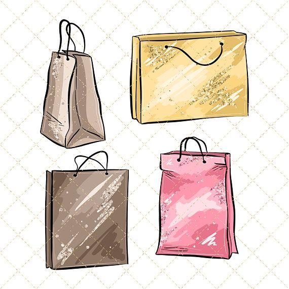 Bag clipart watercolor. Shopping cliparts spring fashion