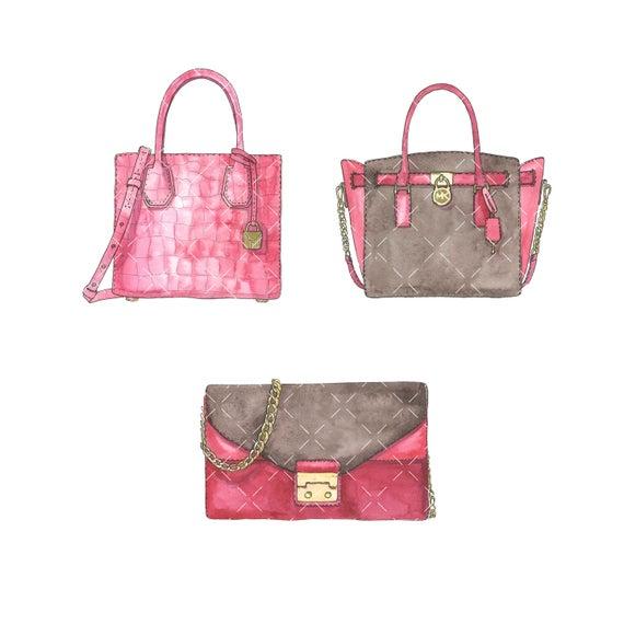 Bag clipart watercolor. Designer bags clip art