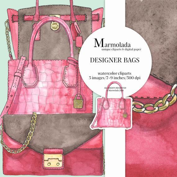Designer bags clip art. Bag clipart watercolor
