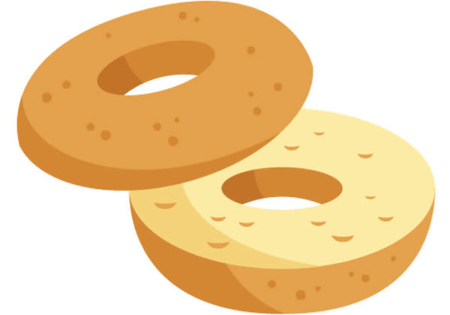 Bagel clipart. The emoji is heading