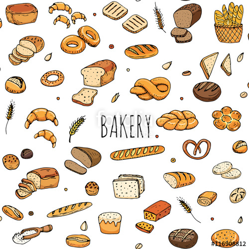 Bagel clipart bagette. Seamless pattern hand drawn