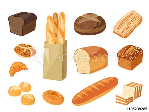 Set of cartoon food. Bagel clipart bagette