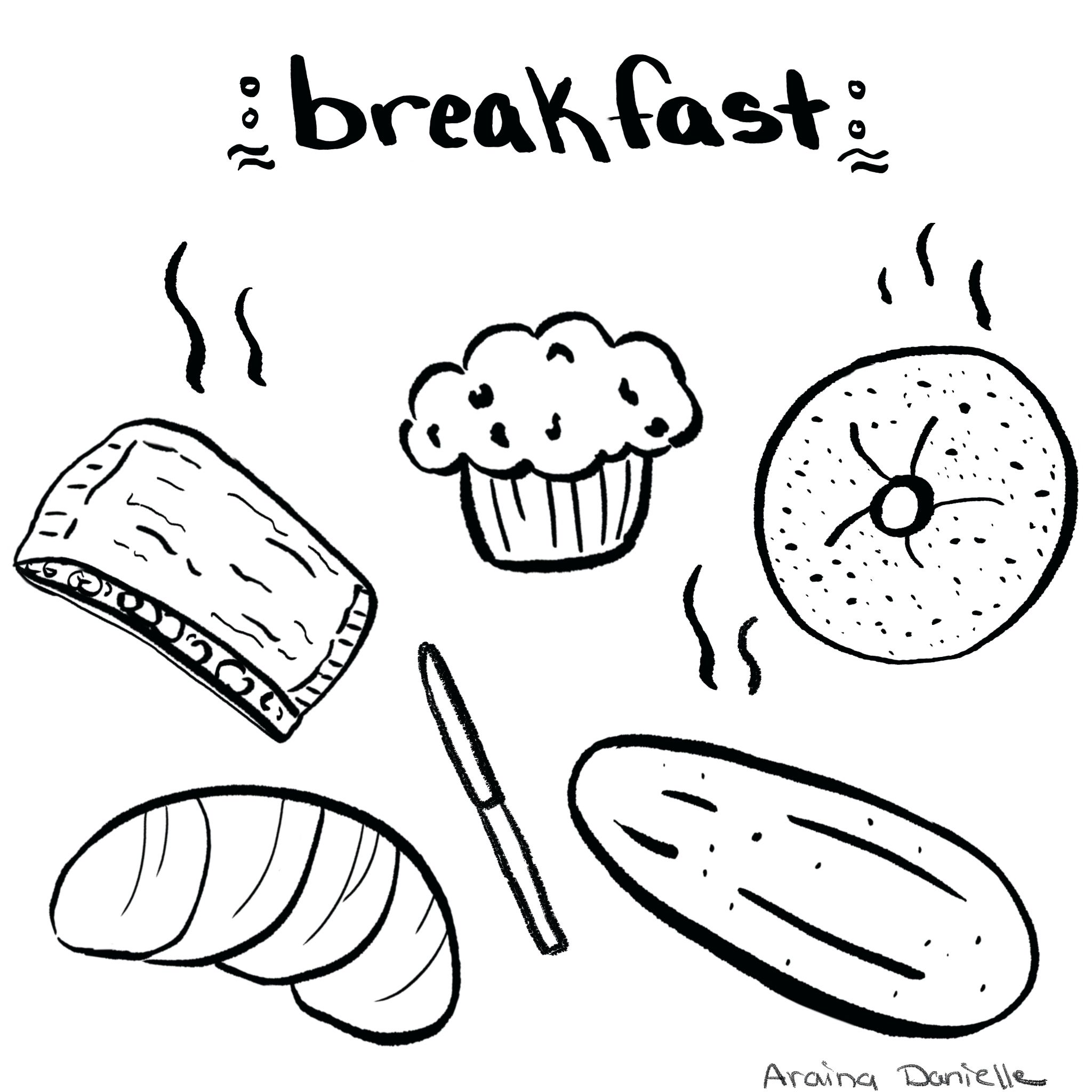Black and white illustrations. Muffins clipart breakfast pastry