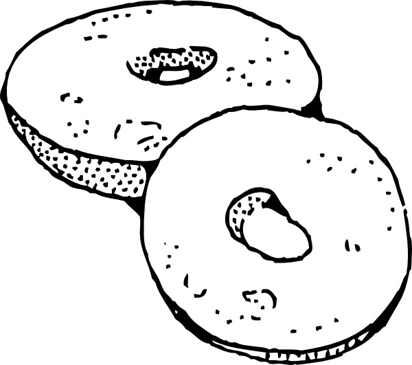 Clip art free vector. Bagel clipart black and white