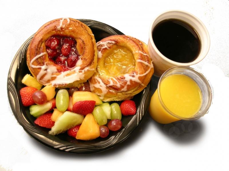Breakfast menu card catering. Bagel clipart danish pastry