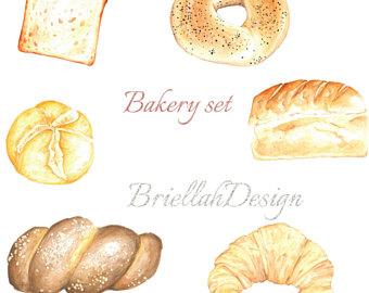 Bakery clip art etsy. Bagel clipart danish pastry